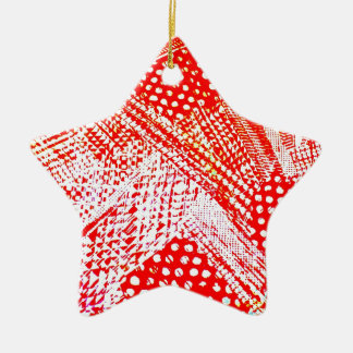 Awesome Red Yellow Abstract Design Image Ceramic Star Decoration