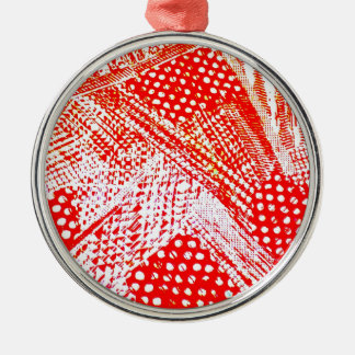 Awesome Red Yellow Abstract Design Image Silver-Colored Round Decoration