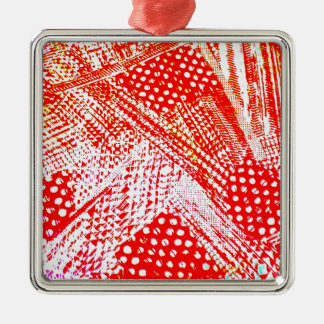 Awesome Red Yellow Abstract Design Image Silver-Colored Square Decoration