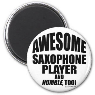Awesome Saxophone Player 6 Cm Round Magnet