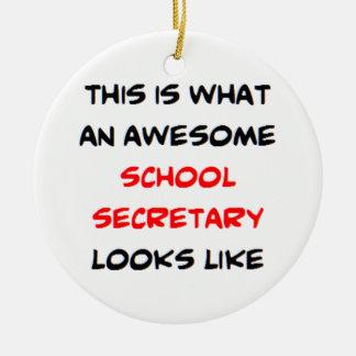 awesome school secretary round ceramic decoration