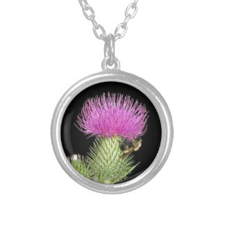 Awesome Scottish Flower Thistle Purple Image Silver Plated Necklace