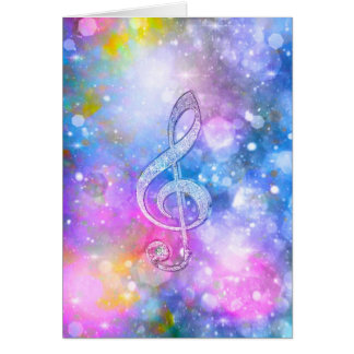 Awesome shining effects treble clef soft colours card