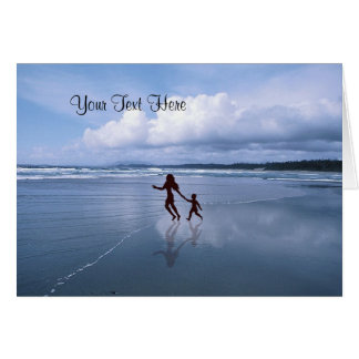 Awesome Silhouette of Mother & Son at the Beach Greeting Card