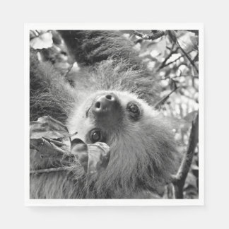 awesome Sloth B&W Disposable Napkin
