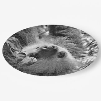 awesome Sloth B&W Paper Plate
