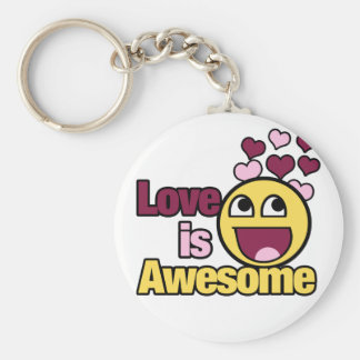 Awesome Smiley Basic Round Button Key Ring
