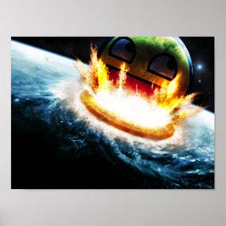 Awesome Smiley - Crashing into Earth Poster
