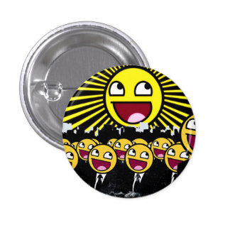 Awesome Smiley Faces Yellow Emoticon 3 Cm Round Badge