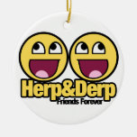 Awesome Smiley Herp and Derp Christmas Ornament