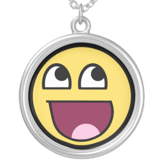 Awesome Smiley Internet Meme Silver Plated Necklace