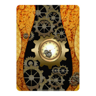 Awesome steampunk design with clocks and gears 14 cm x 19 cm invitation card