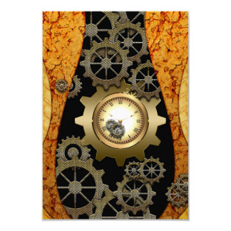 Awesome steampunk design with clocks and gears 9 cm x 13 cm invitation card
