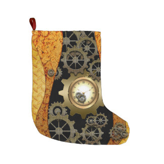 Awesome steampunk design with clocks and gears large christmas stocking