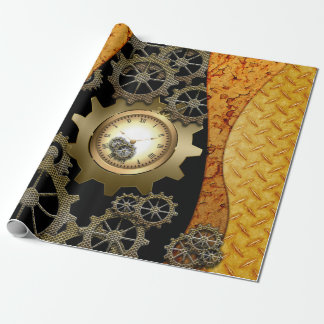 Awesome steampunk design with clocks and gears wrapping paper