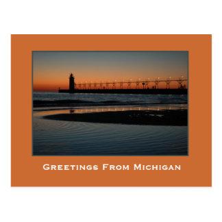Awesome Sunset on Lake Michigan Postcard
