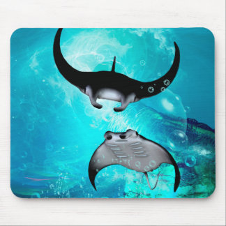 Awesome swimming manta  rays mouse mat