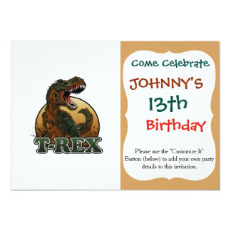 awesome t-rex brown and green illustration 13 cm x 18 cm invitation card