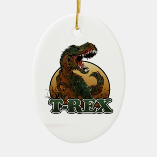 awesome t-rex brown and green illustration christmas ornament