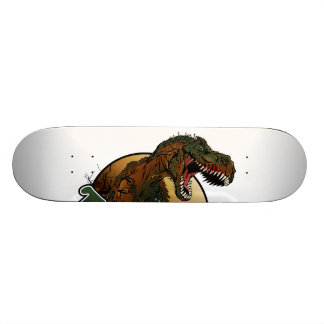 awesome t-rex brown and green illustration custom skate board