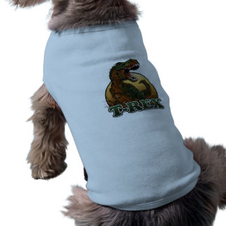 awesome t-rex brown and green illustration sleeveless dog shirt