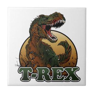 awesome t-rex brown and green illustration small square tile