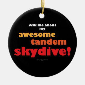 Awesome Tandem Skydive Double-Sided Ceramic Round Christmas Ornament