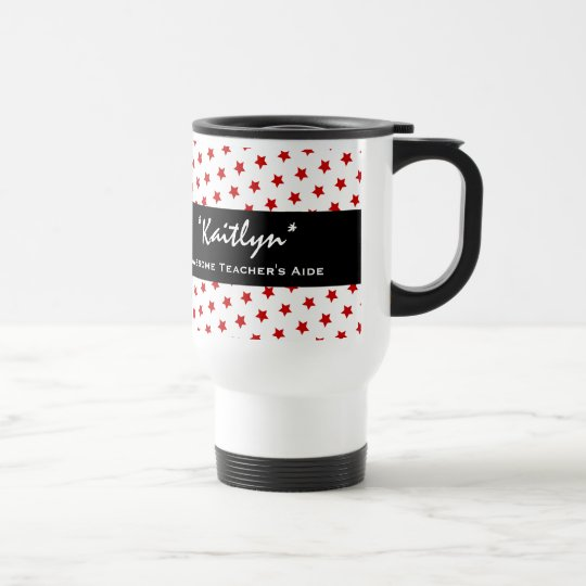 Awesome TEACHER'S AIDE Red Stars A02 Travel Mug
