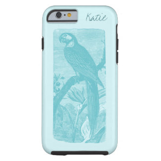 Awesome Teal Macaw, Antique Bird Personalized Tough iPhone 6 Case