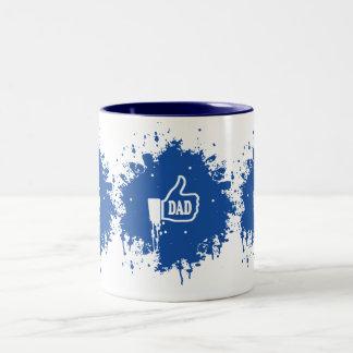 Awesome Thumbs up Like Dad splatter Two-Tone Mug