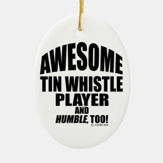 Awesome Tin Whistle Player Christmas Ornament