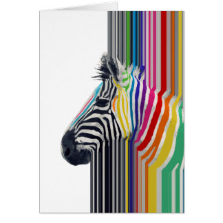 awesome trendy colourful vibrant stripes zebra card