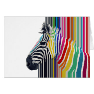 awesome trendy colourful vibrant stripes zebra greeting card