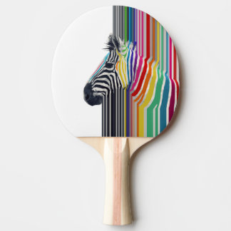 awesome trendy colourful vibrant stripes zebra ping pong paddle
