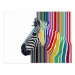 awesome trendy colourful vibrant stripes zebra postcard