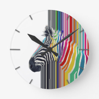 awesome trendy colourful vibrant stripes zebra round clock