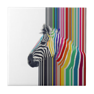 awesome trendy colourful vibrant stripes zebra small square tile