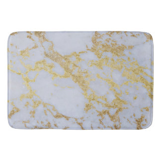 Awesome trendy modern faux gold glitter marble bath mats