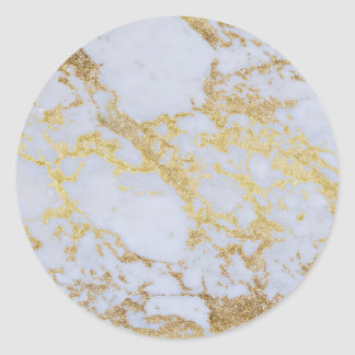 Awesome trendy modern faux gold glitter marble classic round sticker