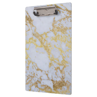 Awesome trendy modern faux gold glitter marble clipboard