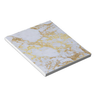 Awesome trendy modern faux gold glitter marble notepad