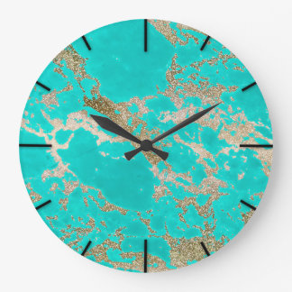 Awesome trendy modern faux gold glitter marble wallclock