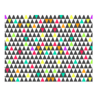 Awesome trendy retro geometric triangle pattern postcard
