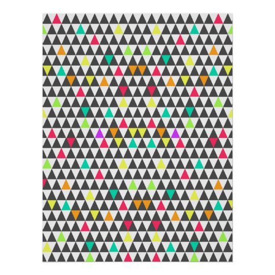 Awesome trendy retro geometric triangle pattern poster