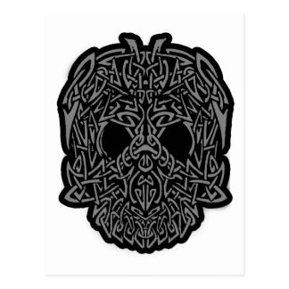 Awesome Tribal Skull Gray Black Customizable Postcard