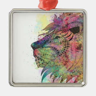 Awesome tribal watercolor lion design christmas ornament