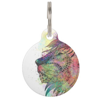 Awesome tribal watercolor lion design pet ID tag