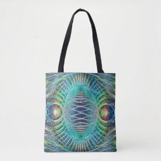 Awesome turquoise Fractal Art Tote Bag