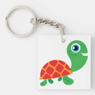 Awesome Turtle Square Acrylic Key Chain