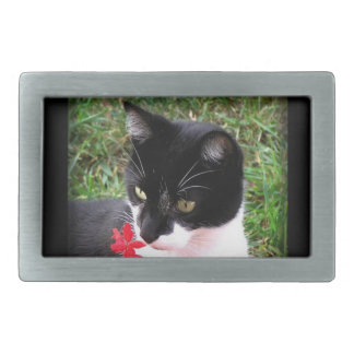 Awesome Tuxedo Cat in Garden Rectangular Belt Buckles